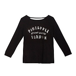 Pineapple - Girls' black sequinned logo slouchy top