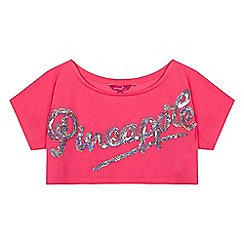 Pineapple - Girls' pink sequinned logo crop top
