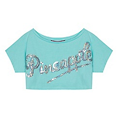 Pineapple - Girls' pale green sequinned logo crop top