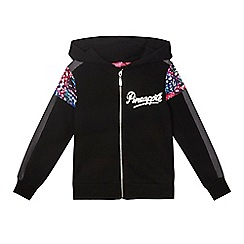 Pineapple - Girls' black logo zip through hoodie