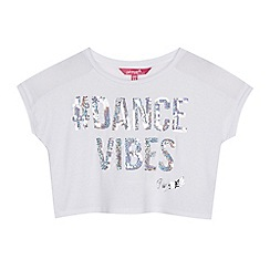 Pineapple - Girls' white sequinned 'Dance & Sparkle' crop top