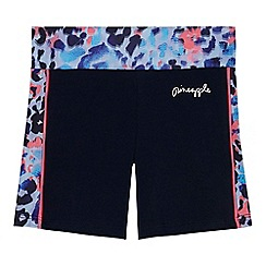 Pineapple - 'Girls' navy leopard print trim shorts
