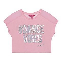 Pineapple - Girls' pink sequin embellished 'Dance & Sparkle' short sleeve crop top