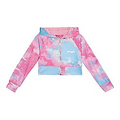 Pineapple - 'Girls' pink and blue marble print long sleeve cropped hoodie