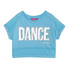 Pineapple - Girls' pale blue sequinned 'Dance' short sleeve crop top
