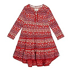 Mantaray - Girls' red floral print tiered dress