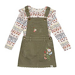 Mantaray - Girls' Khaki denim pinafore and floral t-shirt set