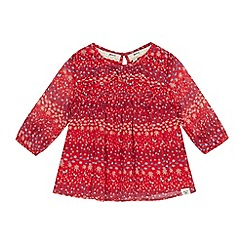 Mantaray - Girls' red floral print frilled yoke blouse