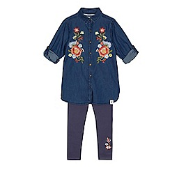 Mantaray - Girls' navy embroidered denim dress and leggings set