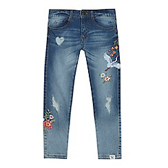 Mantaray - Girls' blue distressed embroidered jeans