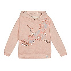 Mantaray - Girls' pink floral embroidered hoodie