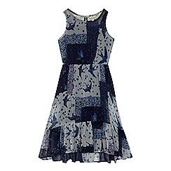 Mantaray - Girls' navy patchwork print dress