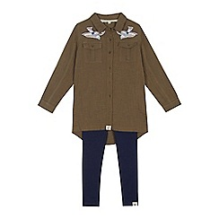 Mantaray - Girls' khaki bird embroidered shirt and navy leggings set