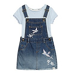Mantaray - 'Girls' blue denim bird embroidered pinafore dress and top set