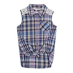 Mantaray - Girls' lilac checked knot hem shirt