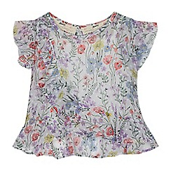 Mantaray - Girls' white floral print blouse