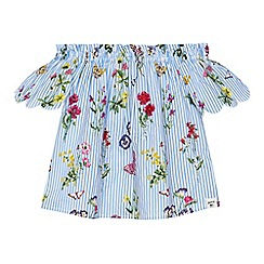 Mantaray - Girls' blue striped floral embroidered Bardot top