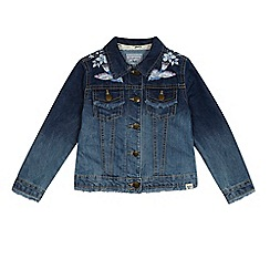 Mantaray - 'Girls' blue denim bird embroidered jacket