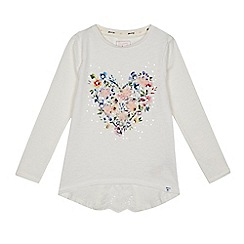 Mantaray - Girls' cream floral heart print top