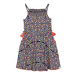 Mantaray - 'Girls' multi-coloured butterfly tile print jersey dress