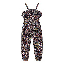 Mantaray - 'Girls' navy butterfly print jumpsuit