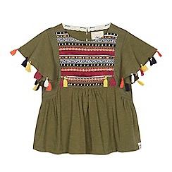 Mantaray - 'Girls' khaki embroidered panel short sleeve top