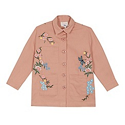 Mantaray - Girls' pink floral embroidered shacket