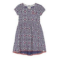 Mantaray - 'Girls' navy flower print jersey dress