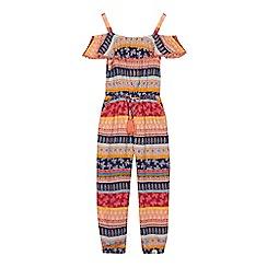 Mantaray - 'Girls' multi-coloured patterned cold shoulder jumpsuit