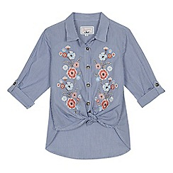 Mantaray - Girls' blue striped floral embroidered tie hem shirt