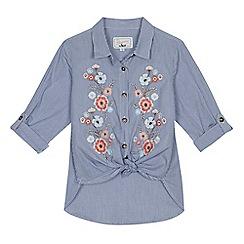 Mantaray - Girls' blue striped floral embroidered tie hem shirt