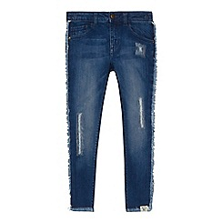 Mantaray - 'Girls' blue frayed trim mid wash jeans