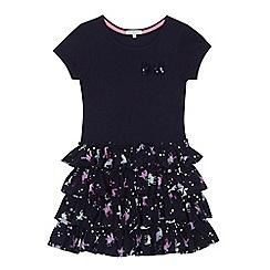 bluezoo - Girls' navy unicorn print rara dress