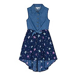 bluezoo - 'Girls' multi-coloured unicorn print denim dress