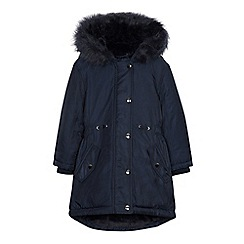 bluezoo - 'Girls' navy shower resistant parka coat