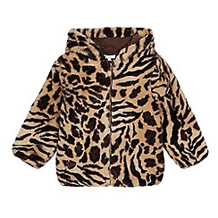 bluezoo - Girls' Multicoloured Leopard Print Faux Fur Jacket