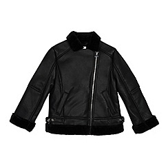 bluezoo - Girls' black faux fur trim biker jacket