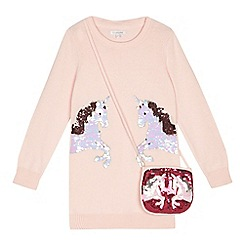 bluezoo - 'Girls' pink sequinned unicorn tunic with a bag