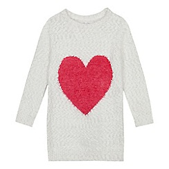 bluezoo - Girls' White Fluffy Pink Heart Tunic