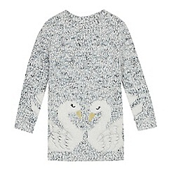 bluezoo - Girls' Light Grey Swan Embroidered Tunic Jumper