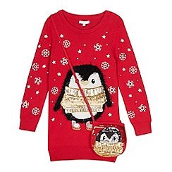 bluezoo - Girls' red penguin sequinned tunic with a bag