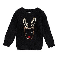 bluezoo - Girls' Black Sequined Reindeer Light Up Jumper