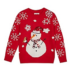 bluezoo - Girls' Red Snowman Light Up Jumper