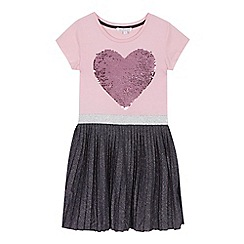bluezoo - 'Girls' pink sequinned heart dress