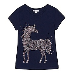 bluezoo - 'Girls' navy diamante unicorn t-shirt