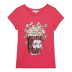 bluezoo - Girls' Pink popcorn sequinned t-shirt