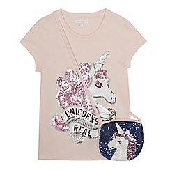 bluezoo - Girls' pink sequinned unicorn t-shirt and bag set