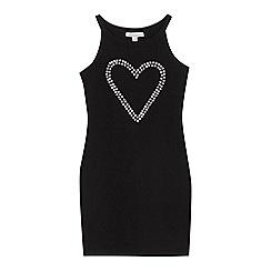 bluezoo - Girls' black heart embellished jersey dress