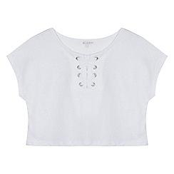 bluezoo - Girls' white lattice short sleeve top