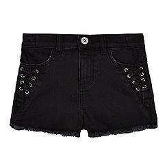 bluezoo - Girls' black lace up detail denim shorts